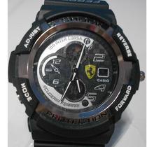 Relogio Cassio G-shock Preto Ferrari Detalhes Cromado
