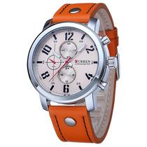 Relógio Curren Mod. 8192 Bege E Laranja Novo Barato