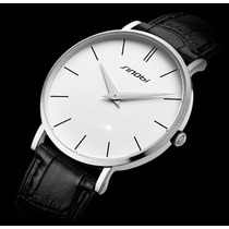 Relógio Masculino Elegante Simples Branco Pulseira Em Couro