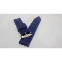 Pulseira Em Borracha Silicone Azul 20mm, 22mm, 24mm Grossa!!