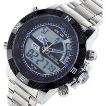 Relógio Grande Led Digital Analógico Wh-1104- Weide Militar