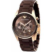 Relógio Emporio Armani Ar5890 Marrom Com Rose - C Frete Grat