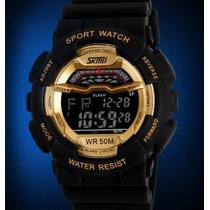 Relógio Esportivo Dourado Gold Black A Prova Dágua 50 M