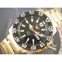 Relógio Seiko 5 Monster Sports Automatico Plaque Ouro 4r36bh