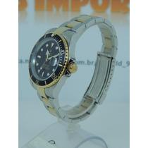 Relógio Masculino Submariner Preto Dourado/ Prata Perpetual