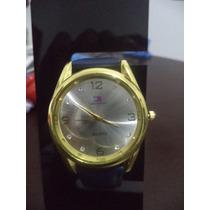 Relógio Feminino Tommy Coroa Dourado Redondo Pulseira Azul