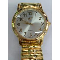 Relógio Feminino Aço Inox Pulseira Com Elastico