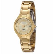 Relógio Feminino Dourado Seculus 60631lpsbda1 Original