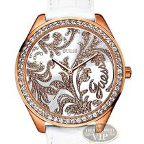 Relógio Guess Crystal Swarovski Branco Ouro 18 Rose Original