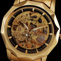 Relógio Analógico Winner Dourado Esqueleto Cromado