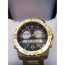 Relógio Atlantis Original Dourado Ponteiros Com Digital