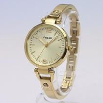 Relógio Feminino Fossil Es3084 Georgia Dourado Novo Original