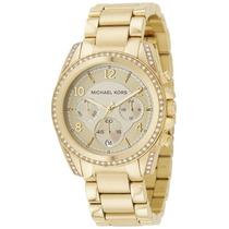 Relógio Michael Kors Mk5166 Dourado Midsize Original