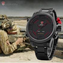 Relógio Militar Esportivo Led Shark Sh105 Original + Brinde!