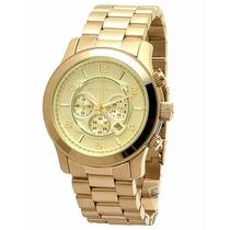 Relógio Michael Kors Mk8077 Ouro Oversize Original Garantia*