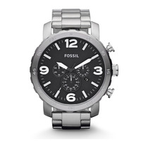 Relógio Masculino Fossil Nate Fjr1353z Aço Inoxidável Prata