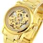 Relógio Automatico Mecanico Skeleton Dourado Usado Tres Veze