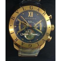 Relógio Bvlgari Automático Dourado Fundo Azul (em Até 12x)