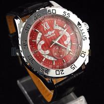 Relógio Importado Winner Vermelho Automático Com Calendário