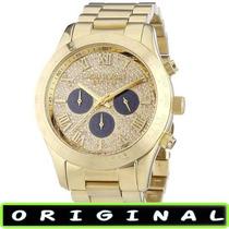 Relógio Michael Kors Mk5830 Layton Gold 45mm Oversized Novo!