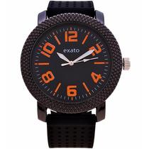 Relógio Masculino Exato Preto Laranja Borracha Silicone Aço