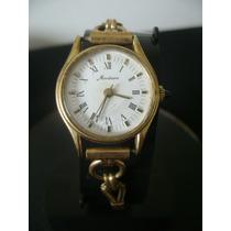 Antigo Relógio De Pulso Feminino Em Plaquê De Ouro Mondaine