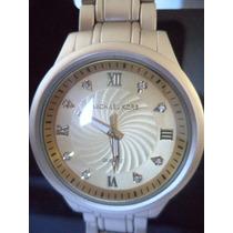 Relógio Feminino Pulseira De Metal Dourado Fosco C/strass