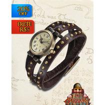 Relógio Bracelete Couro 3 Voltas Feminino Vintage -frete 5r$