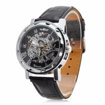 Relógio Winner Automático Pulseira De Couro Pronta Entrega