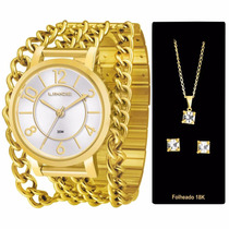 Relógio Lince Dourado Feminino (orient) Lrg4241l Kit Brinco
