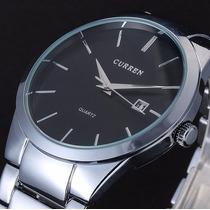 Relógio Luxo Currem Aço Importado Barato Pronta Entrega