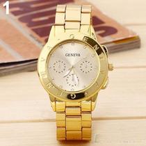 Relógio Luxo Feminino Mulher De Pulso Dourado Ouro Geneva