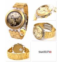 Relógio Swatch Chrono Full Blooded Gold Dourado Svck4032g