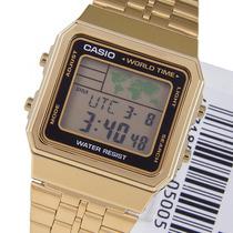Relógio Casio A500wa 1df Dourado 5alar A500 A168 A158 Pt