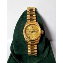 Relógio Rolex Feminino Ouro 18k Puls. Presidente Automático