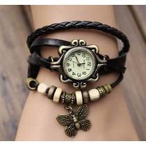 Relógio Feminino Pingente Borboleta Vintage Pulseira Preta