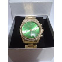 Relógio Feminino Michael Kors Mk Dourado C/ Verde E Cristais