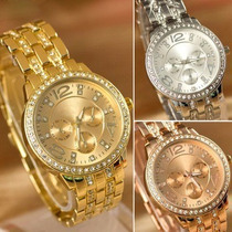Relógio Feminino Geneva Luxury Com Strass Frete Barato