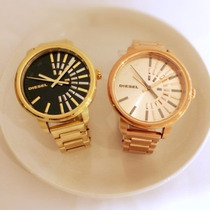 Relógio Diesel Feminino Original Dourado E Dour. Rosê Dz5417