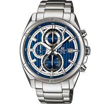 Relógio Cassio Edifice Mostrador Azul Cronógrafo Wr100 Aço