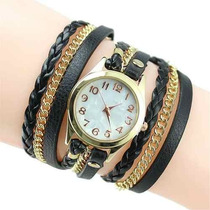 Relógio Feminino Bracelete Strass Pulseira De Couro Lindo