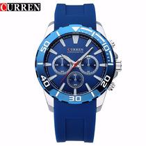 Relógio Quartz Masculino Pulseira Em Poliuretano Curren 8185