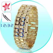 Relógio Led Iron Vermelho Samurai Pulseira Aço Cor Dourado