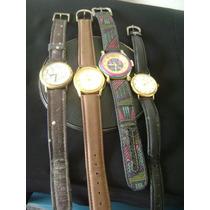 Lote De 04 Relógios De Pulso Feminino Em Plaquê De Ouro