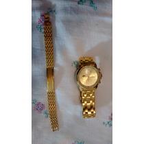 Relógio Alemão Brinda Pulseira Banhada A Ouro