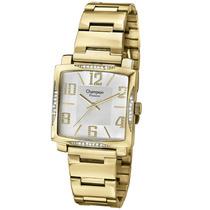 Relógio Feminino Champion Dourado Quadrado Ch24160h C/ Pedra