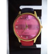 Relógio Feminino Pulseira De Couro Vermelho/azul Dourado