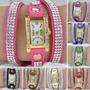 Relógio Moda Vintage Mulher Pulseira Bracelete Couro Strass