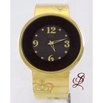 Relógio Dumont Feminino Dourado Com Aro Marrom Sx5294r