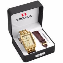 Relógio Seculus 2 Anos Garantia 2 Pul Aço Couro 23440gpsvda2